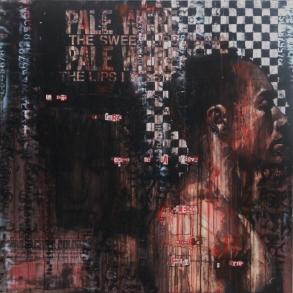 """""""o sono al terzo cerchio, de la piova, etterna, maladetta, fredda e greve"""", oil and collage on canvas, 91 x 91 cm, 2008"""