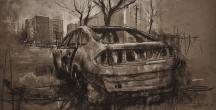 """""""Et l'histoire se répétant"""", compressed charcoal, conte on paper, 64 x 33 cm, 2017"""