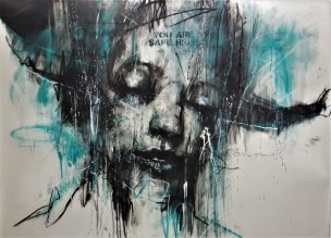 'Bring Me the Head of the Preacher Man', mixed media drawing, 100 x 150 cm 2020