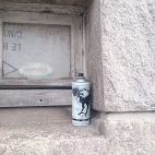 Free art... empty, painted can drop in Brest.