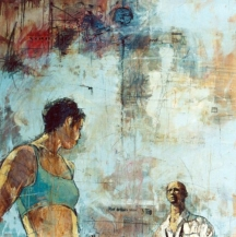 """You'll be wanting a happy ending then"", oil and collage on canvas, 120 x 120 cm, 2002"