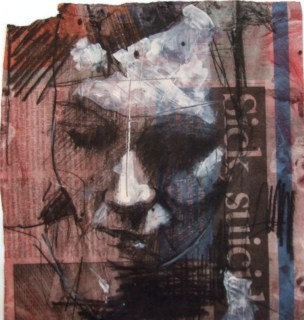 """""""Sick suicide"""", compressed charcoal,pencil and oil wash on newsprint, 15 x 20 cm, 2007"""