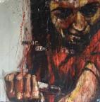 """Monkey pump varnish"", oil on canvas, 90 x 90 cm, 2008"