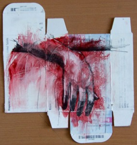 """""""Treatment resistant"""", pencil and oil wash on medical packaging, 21 x 23 cm, 2009"""