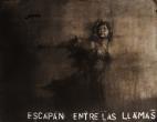 """""""Escapan entre las llamas"""", conte, chalk and aerosol on paper, 120 x 100 cm, 2016"""