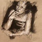 """""""Fashionably wankered (the cigarette after)"""", conte and chalk on paper, 21 x 21 cm, 2010"""