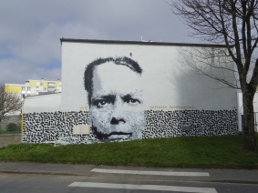 Portrait of Nathalie Lemel in a collaborative mural with Shoof. Brest, France