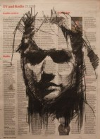 """""""The gullibles' travels (another dead veiled girl)"""", conte on newsprint, 23 x 31 cm, 2010"""