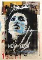 """Second of the pair of stencilled paste-ups for New York. With words from William Blake split between the pair. """"Can I see another's woe,. And not be in sorrow too? Can I see another's grief,. And not seek for kind relief?"""""""