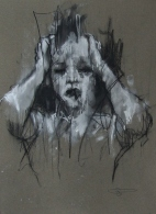 """""""About passion"""", conte and chalk on paper, 27 x 37 cm, 2011"""
