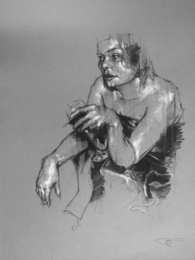 """The party's over (two degrees)"", compressed charcoal,conte and chalk on paper, 55 x 75 cm, 2011"