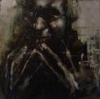 """""""Feeding the sixth terrace"""", oil on canvas board, 23 x 23 cm, 2011"""