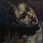 """Feeding the fourth terrace"", oil on canvas board, 23 x 23 cm, 2011"
