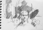 """""""Luke in Times Square"""", pencil on paper, 15 x 21 cm, 2011"""