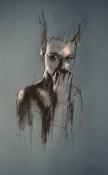 """And the day starts"", compressed charcoal,conte and chalk on paper, 30 x 50 cm, 2009"
