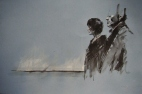 """Before the Bremen"", conte, chalk and watercolour pencil on paper, 50 x 30 cm, 2011"