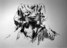 """Feel my breath – slipping out"", compressed charcoal,conte on paper, 30 x 40 cm, 2011"