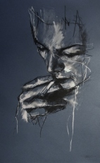 """""""Privatise the air"""", conte and chalk on paper, 30 x 50 cm, 2011"""
