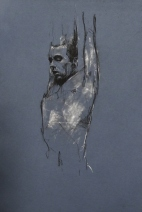 """""""Paradiso preparatory sketch"""", conte and chalk on paper, 30 x 50 cm, 2012,"""