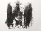 """""""Like aural static, accidental smack-head gunshot wounds"""", compressed charcoal,conte on paper, 30 x 40 cm, 2012"""