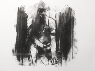 """Like aural static, accidental smack-head gunshot wounds"", compressed charcoal,conte on paper, 30 x 40 cm, 2012"