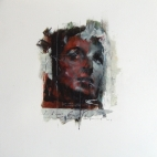 """""""Looking for Beatrice (32)"""", oil and collage on paper, 30 x 30 cm, 2012"""