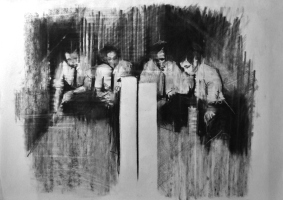 """""""Pre anti-glory, we'll crash and burn and you'll cash and earn"""", compressed charcoal,conte on paper, 30 x 40 cm, 2012"""