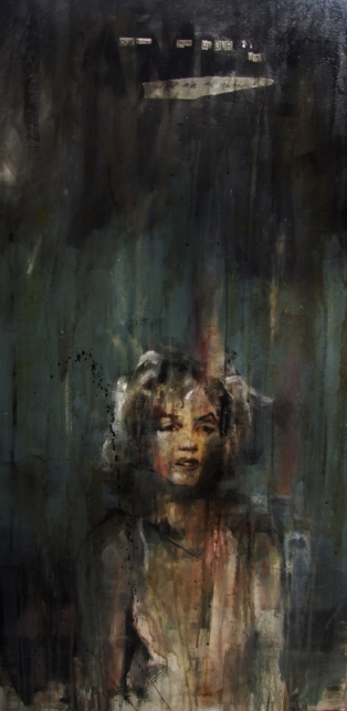 """""""Our father, Forgive us our fuck-ups, And let us lie well remembered. Amen"""", oil on canvas, 50 x 100 cm, 2013"""