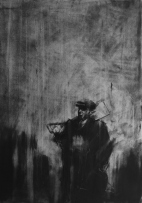 """The house that he makes last 'til doomsday (death of Thatcher)"""", compressed charcoal,conte on paper, 30 x 40 cm, 2013"""