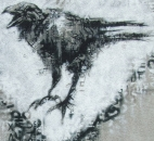 The first of the Mon Coeur Beau crows - painted on a wall in Vitry, France.