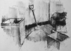 """""""Protect and Survive (still life)"""", conte on paper, 30 x 40 cm, 2013"""