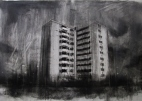 """""""Where are our monsters now, where are our friends?"""", compressed charcoal,conte and chalk on paper, 30 x 40 cm, 2013"""