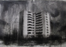 """Where are our monsters now, where are our friends?"", compressed charcoal,conte and chalk on paper, 30 x 40 cm, 2013"
