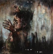 """""""La plus longue chute"""", oil on canvas, 100 x 100 cm, 2013"""
