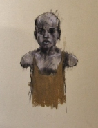 """""""The ordnance legate (the hand of man)"""", compressed charcoal,conte and chalk on paper, 20 x 30 cm, 2013"""