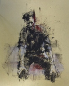 """""""Occupy Gezi"""", conte and pastel on paper, 25 x 28 cm, 2013"""