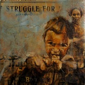 """Struggle for boat boy"", oil on canvas, 15 x 15 cm, 2016"