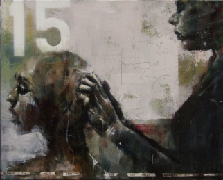 """Between the Oscar winners and the daily sinners"", oil on canvas, 33 x 40 cm, 2013"