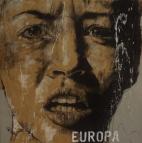"""Europa"", conte, chalk and aerosol on paper, 100 x 100 cm, 2016"