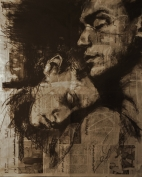 """""""Ordinary Lives"""", conte and pastel on newspaper"""