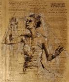 """The veil"", conte and chalk on newsprint, 44 x 52 cm, 2013"