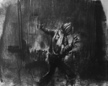 """The end of the experiment"", compressed charcoal,conte and chalk on paper, 30 x 40 cm, 2012"
