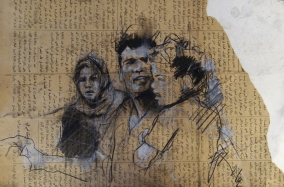 """Gaza family (nowhere to go)"", compressed charcoal,conte and chalk on newsprint, 40 x 26 cm, 2013"