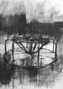 """Not for them the municipal mental mayhem of low budget theme parks"", compressed charcoal,conte and chalk on paper, 30 x 40 cm, 2013"