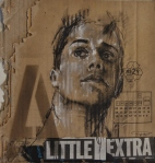 """""""A little extra"""", conte, chalk, aerosol and collage on packaging, 25 x 25 cm, 2016"""