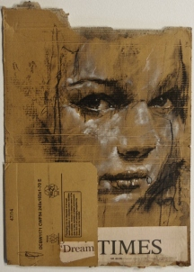 """Dream times"", compressed charcoal,conte, chalk and collage on packaging, 40 x 29 cm, 2015"