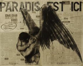 """Paradis est ici (21)"", compressed charcoal,conte, chalk and aerosol on newsprint, 69 x 56 cm, 2015"
