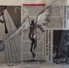 """Paradis est ici (41)"", conte, chalk and dymotape on newsprint, 30 x 30 cm, 2015"
