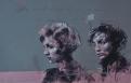 'l'art est mort. Godard n'y pourra rien' conte and spray paint on paper, 32 x 50 cm, 2017