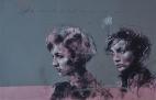 'l'art est mort. Godard n'y pourra rien' compressed charcoal,conte and spray paint on paper, 32 x 50 cm, 2017